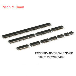 2 0mm Single Row Female Straight Pin Header Socket 1x 2 3 4 5 6 7 8 10p 20 40p