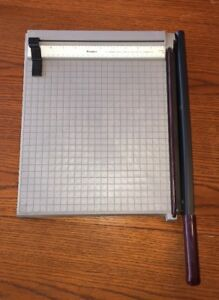 Vintage Premier Paper Cutter Trimmer Guillotine Grey 12 X 12 Grid Nice P212