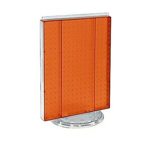 16 W X 20 H Orange Counter Top Rotating Pegboard Tower Display Unit