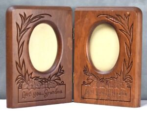 Antique Vintage Engraved Grandparents Wood Oval Picture Frame