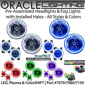 Oracle Halo Headlights Fog Lights For 07 18 Jeep Wrangler Jk all Colors