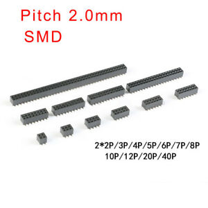 Pitch 2 0mm Double Row Female Smd Pin Header Socket 2x2p 3 4 5 6 7 8 10 12p 40p