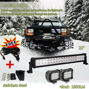 20in 24inch Led Light Bar 2pcs 4inch Cree Led Lights Pods Jeep Truck Suv Atv 22
