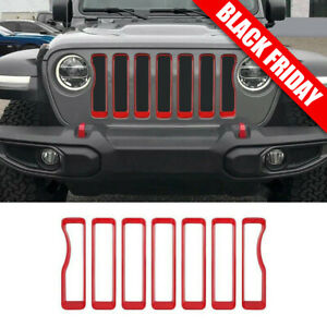Red Front Grille Inserts Covers Grill Trim For 2018 Jeep Wrangler Jl Accessories