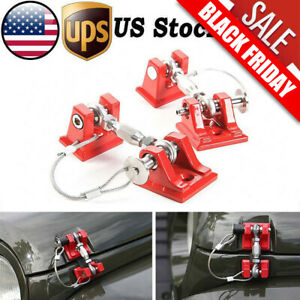 For 07 2018 Jeep Wrangler Jk Unlimited Black Hood Latch Locking Catch Buckle Red