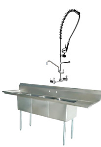 Stainless Steel 3 Compartment Sink 90 X 24 With 2 18 Drainboards With Faucet