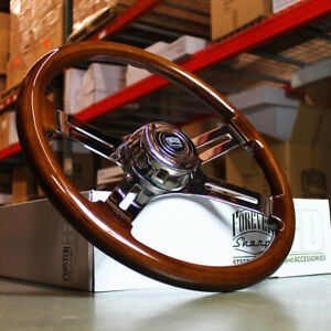 18 Wood Steering Wheel Chrome 4 Spoke Freightliner Kenworth Peterbilt Volvo