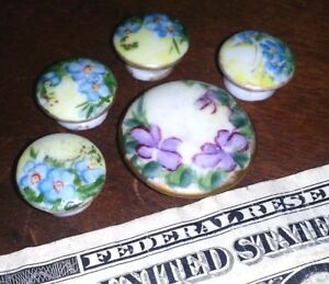 5 Vintage Antique Purple Blue Flowers Porcelain Hand Painted Stud Buttons