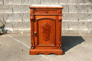 Fancy Walnut Victorian Marble Top Half Commode Nightstand Cabinet W Inset Marble
