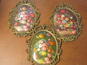 3 Vintage Metal Ornate Frames Made In Italy