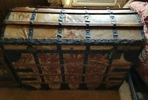 Antique Deer Or Cow Hide Dome Trunk