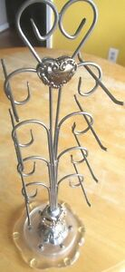 Brighton Heart Jewelry Store Display Stand Tree Earring Silver Acrylic Revolving