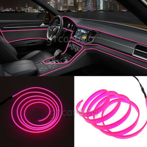2m 12v El Wire Pink Cold Light Line Neon Lamp Car Atmosphere Lights Unique Decor