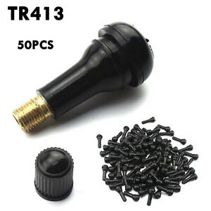 50pcs Car Auto Tr 413 Short Rubber Tubeless Snap In Tyre Tire Valve Stems Black