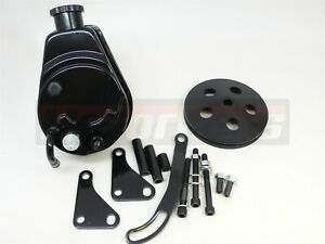 Small Block Chevy Sbc Black Saginaw Power Steering Pump bracket aluminum Pulley