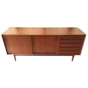 Johannes Aasbjerg Teak Credenza With Exposed Dovetail Case Hans Wegner Style