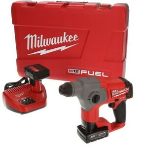Milwaukee Rotary Hammer Drill 5 8 In 12v L ion Cordless Batteries Charger Case