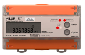 Electric Electricity Smart Meter Submeter Kilowatt hour Milur 307 Three Phase