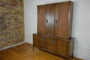 Ray Sabota For Mt Airy Bleached Mahogany Mid Century Two Piece China Hutch