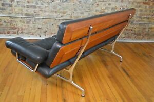 Charles Ray Eames For Herman Miller Three Seat Mid Century Modern Sofa In Teak