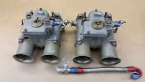 Pair Of Used Original Vintage Weber Side Draft 48 Dcoe Carburetors Made In Italy