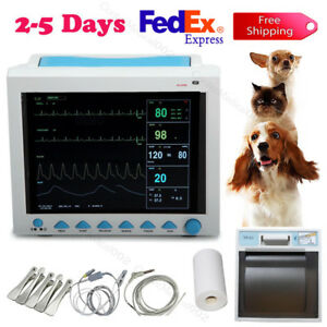 Veterinary Patient Monitor Portable Ainmal Machine Vital Signs Monior printer us