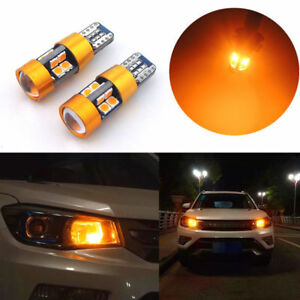 1pair Amber Car Position Parking City Lights T10 168 194 2825 W5w 19smd Led Bulb