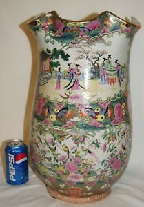 Large Chinese Rose Medallion Vase With Scalloped Rim Signed 18 3 4 Tall