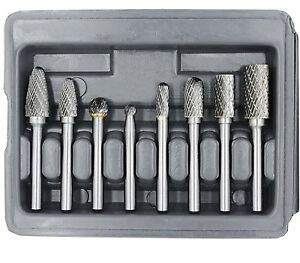 Yufutol Carbide Burr Set 8pcs Double Cut Solid Carbide Rotary Burr Set