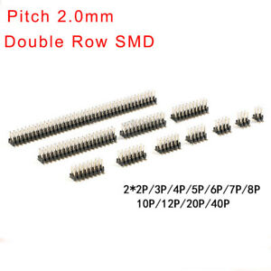 2 0mm Pitch Double Row Smd Male Pin Header 2x2p 3 4 5 6 7 8 10 12p 40p Connector