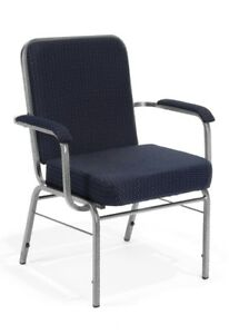 Big Tall Reception Office Stacking Fabric Chair In Navy With Arms