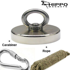 500 Lbs Neodymium Round Hippo Fishing Magnet Kit With Rope Carabiner Hook