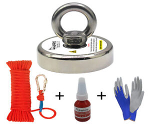 Fishing Magnet Kit 400lbs Round Neodymium Hippo Magnet With Rope
