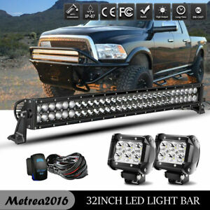 180w 32 Dual Row Led Light Bar W Behind Grille Bracket Wiring For 14 18 Gmc