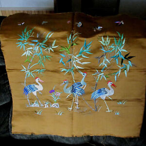 Antique Chinese Silk Embroidery Panel With Cranes
