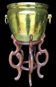 Maitland Smith 37 Hammered Brass Jardiniere Planter Plant Stand Mcm Chinoiserie