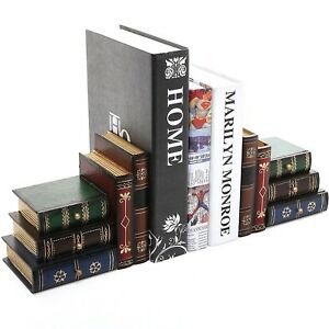 Mygift Set Of 2 Stacked Books Wood Bookends Desktop Organizer Storage Drawers