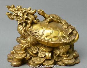 Chinese Fengshui Old Bronze Dragon Turtle Tortoise Yuanbao Money Wealth Statue