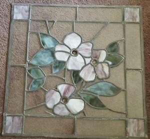 Beautiful Hand Crafted Stained Leaded Glass Window Beautiful Floral Design Vgc