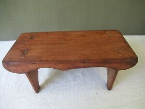 Antique Foot Stool 16 X8 X7 Tall Mortised Primitive Pine Wood Footstool Bench