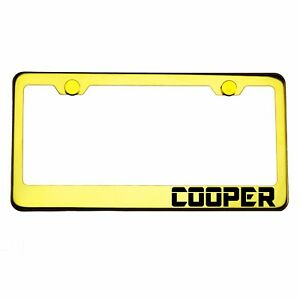 Gold Chrome License Plate Frame Cooper Laser Engraved Metal Screw Cap