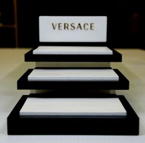 Versace Retail Display 3 Layer Floating Shelves White Leather black Acrylic