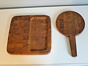 2 Vintage Dansk Teak Cutting Boards Wood Parquet Cheese Board With Knife Danish