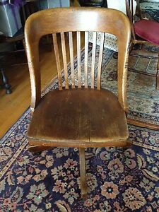 Colonial Chair Co Antique Wood Rolling Swivel Seat Library Desk Chair
