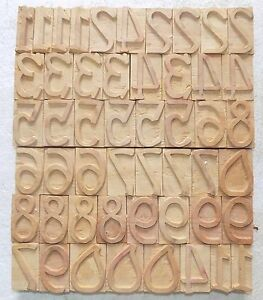 Letterpress Letter Wood Type Printers Block numarical Number 50 Piece bc 1957