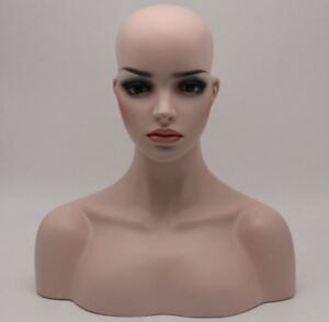 Luxury Realistic Fiberglass Mannequin Head Display Hat Wig Glasses Mold Stand