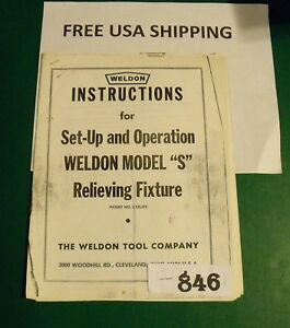 Machine Shop Tool Manual Weldon Model s Relieving Fixture Set up