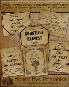 Primitive Pantry Labels 12961 Fall Autumn Thanksgiving Harvest Thankful