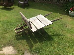 Antique Flatbed Wheelbarrow Homemade Iron Wheel Garden Decor Primitive
