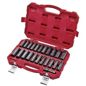 Craftsman 23 Pc 1 2 In Drive Easy To Read Deep Impact Socket Set Inch Metric